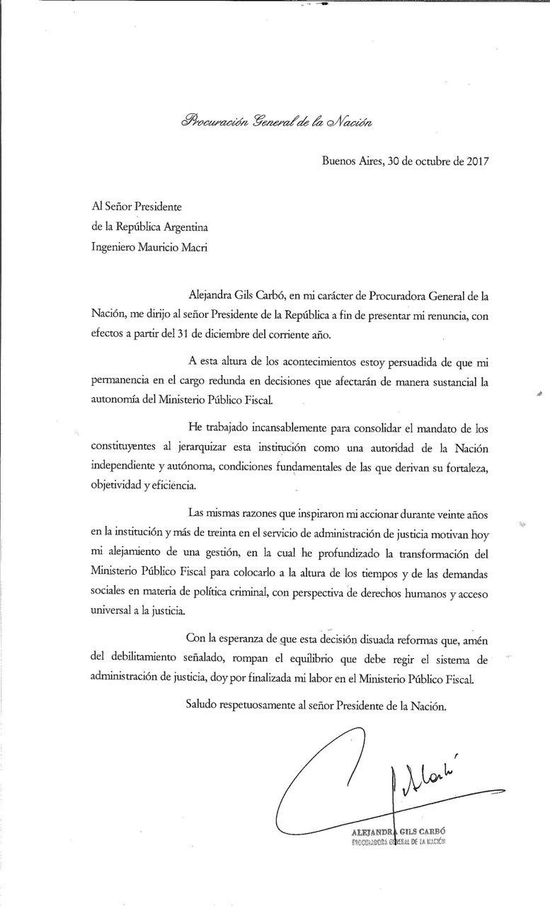 En Una Carta Dirigida A Macri Renuncio La Procuradora Alejandra Gils Carbo Carta dirigida a una autoridad